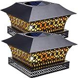 Siedinlar Solar Post Lights Outdoor Fence Deck Cap Light Solar Powered Metal Warm White LED Lighting Waterproof for Garden Pa