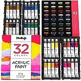 Acrylic Paint Set (32 Colors, 22 ml tubes, 0.74 oz.) for Canvas, Crafts, Wood Painting - Rich Pigment, Non Fading, Vibrant No