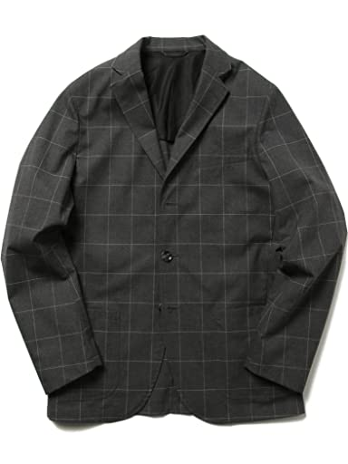 Windowpane Stretch Cotton Jacket 51-16-0234-565: Grey