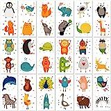 PapaKit Cute Zoo Animals 36 Temporary Fake Tattoo Set, 18 Individually Wrapped Sheets | Kids Girls & Boys Birthday Party Favo