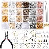 Hicdaw 2493Pcs Earring Hooks Earring Making Supplies Kit with Earring Hooks, Jump Rings, Earring Backs, Pliers, Tweezers, Jum