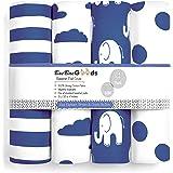 BaeBae Goods Bassinet Sheet Set | Navy Elephants | Super Soft Jersey Knit Cotton | 3 Pack | 150 GSM