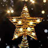 DR.DUDU Christmas Star Treetop Decor, 10 LED Light Star Xmas Treetop Decoration with Natural Rattan for Christmas Tree Party