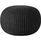 Urban Shop Round Knit Pouf - Hand Woven Cotton, Black