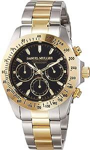 [ダニエル・ミューラー]DANIEL MULLER 腕時計 オールステンレス クロノグラフ メンズウォッチ DM-2003TGB ブラック×ゴールド