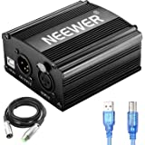 Neewer 1-Channel 48V Phantom Power Supply with 5 feet USB Cable, Bonus+XLR 3 Pin Microphone Cable for Any Condenser Microphon
