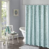 "Intelligent Design Raina Shower Curtain Printed Geometric Metallic Machine Washable Modern Home Bathroom Decorations, 72"" x 7"