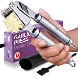Alpha Grillers Garlic Press. Stainless Steel Mincer & Crusher With Silicone Roller Peeler. Easy Squeeze, Rust Proof, Dishwash