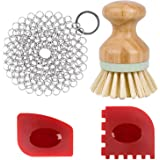 Cast Iron Cleaner kit, Wood Scrub Cleaning Brush, Stainless Steel Chainmail Scrubber, Pan Scrapers, Kitchen Cleaning