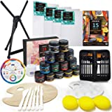 MEEDEN Great Value Acrylic Painting Set - Aluminum Table Easel, 15×100ML Acrylic Paints, Stretched Canvas, Paint Brushes & Pl