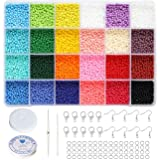 BALABEAD Size Almost Uniform Glass Seed Beads with Beading Kit, About 7800pcs in Box 24 Multicolor Assortment Size 2x3mm Craf