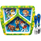 Zak Designs Paw Patrol Divided Plate, Fork and Spoon Set, Paw Patrol, 3 piece set