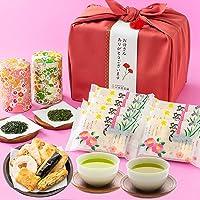 母の日ギフト 高級日本茶 2種 富山米100%使用 お煎餅ギフト 歌づくし せんべい 風呂敷包み 川本屋茶舗