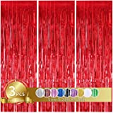 3 Pcs Red Metallic Tinsel Foil Fringe Curtains,3ft x 8.3ft Red Photo Booth Backdrop Curtain,Photo Booth Props,Ideal Bachelore