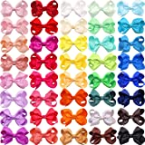 "JOYOYO 40 Colors Boutique Grosgrain Ribbon Pinwheel 3"" Hair Bows Alligator Clips For Babies Toddlers Teens Gifts"