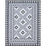 Santextile TT001 Reversible Outdoor/Indoor Plastic Rugs,Easy to Clean,Mildew, UV, Stain and Water Resistant(Grey,8x10)