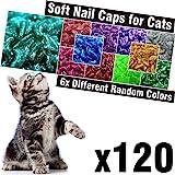 120 pcs Glitter Soft Cat Claw Caps for Cats Nail Claws 6X Different Random Colors + 6X Adhesive Glue + 6X Applicator, Pet Cap