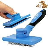 Pet Craft Supply Self Cleaning Calming Slicker Pet Grooming Brush for Dogs and Cats with Short to Long Hair, Removes Mats, Ta