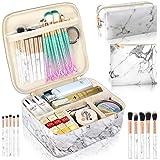 3Pcs Makeup Bags, Portable Travel Cosmetic Bag, Waterproof Organizer Multifunction Case, Marble Makeup Bag for Women with Adj