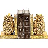 Bellaa 24162 Pineapple Bookends Golden Bookshelves Decor 7 inch