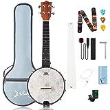 Mulucky 4 String Banjo Ukulele Concert 23 Inch Remo Drumhead Beginner Kit With Beginner Kit Truss Rod Gig Bag Tuner String St