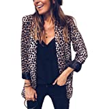 Angashion Womens Casual Long Sleeve Snakeskin Print Open Front Office Blazer Suit Jacket Coat