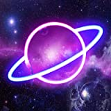 Planet Neon Light Signs - Pink/Blue LED Neon Sign Wall Decor Neon Lamp Battery/USB Operated Planet Lamp Neon Night Lights Sig