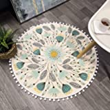 Uphome Round Area Rugs with Chic Pom Pom Fringe Floral Velvet Accent Throw Rug Field Plants Non-Slip Soft Floor Carpet Machin