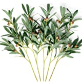 Faux Olive Branches for Vases [5pack, 27inch Length] Artificial Olive Tree Stems for Home Décor, Weddings, Parties. Decorativ
