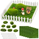 "24pcs Miniature Fairy Garden Ornaments- 6 Sheets 6"" × 6"" Artificial Garden Grass+ 8pcs Simulation Moss Stones+ 10pcs 4"" White"