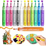 Paint Pens Acrylic Markers, ZSCM 12 Colors Paint Markers for Easter Hanging Eggs Ornaments Drawing, Metallic Art Marker, for
