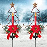Doingart 2 Pack Outdoor Solar Christmas Light Decorations, LED Candle Christmas Lights with Artificial Poinsettia Gold Berry