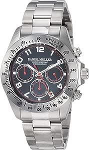 [ダニエル・ミューラー]DANIEL MULLER 腕時計 オールステンレス クロノグラフ メンズウォッチ DM-2003BKA ブラック×レッド