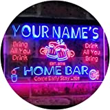Personalized Your Name Custom Home Bar Beer Established Year Dual Color LED Neon Sign Red & Blue 300 x 210 mm st6s32-p1-tm-rb