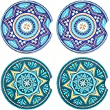 Cuckoo Car Coasters for Cup Holders, 2.56 in Fingertip Grip Design Mandala Ceramic Drink Coasters Set of 4 - Strong Water Abs