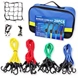 """Bungee Cords Set with Hooks, 28pc Bungee Cord kit Heavy Duty with Storage Bag, Bonus Cargo Net, Includes 40"""",32"""",24"""",18"""",10"""""""