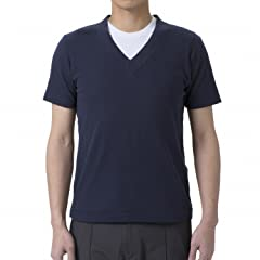 Mighty-Mac Shell V-neck Tee: Navy