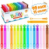 Inscraft Bubble Wand, 90 Pack Mini Bubble Wands Bulk 15 Colors for Summer Toys, Wedding, Outdoor Indoor Activity Use, Bubbles