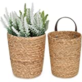 StorageWorks Water Hyacinth Wall Hanging Baskets, Wall Mounted Farmhouse Baskets for Plants, Braided Hanging Baskets for Acce