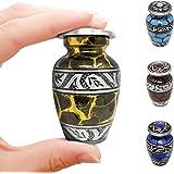 Cepheus Small Black Gold Aluminum Keepsake Cremation Urn | Choose from Four Unique Colors | Mini Metal Sharing Personal Funer