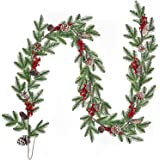 Artiflr Artificial Red and Burgundy Berry Christmas Garland for Indoor Outdoor Home