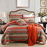 NEWLAKE Striped Classical Cotton 3-Piece Patchwork Bedspread Quilt Sets King Size
