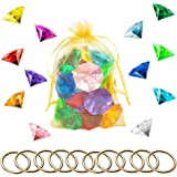 PANTIDE 35Pcs Acrylic Diamond Gems Jewels Alloy Gold Round Ring Set Sonic the Blue Hedgehog Chaos Emeralds Power Rings Party