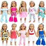 Ecore Fun 10 Sets 18 Inch Doll Clothes Outfits Pajamas Dresses Hair Clips for American 18 Inch Girl Doll, Our Generation Doll