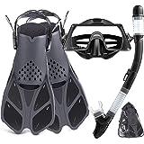 Snorkel SetAdult,Snorkeling Set with Panoramic Snorkel Mask Diving Goggles,Dry Top Snorkel and Adjustable Fins,Scuba Diving