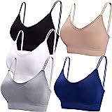 BQTQ 5 Pcs V Neck Tube Top Bra Padded Camisole Bra for Women Seamless Bralettes