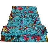 Bird Print King Size Kantha Quilt Sky Blue Kantha Blanket Bed Cover King Kantha bedspread Bohemian Bedding Kantha Size 90 Inc