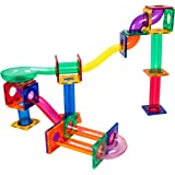 PicassoTiles Marble Run 50-Piece Magnetic Tile Race Track Toy Play Set STEM Building & Learning Toys, Educational Magnet Cons