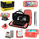 Switch Lite Accessories Bundle, Kit with Carrying Case,TPU Case Cover with Screen Protector,Charging Dock,Playstand, Game Car