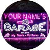 Personalized Your Name Est Year Theme Garage Man Cave Deco Dual Color LED Neon Sign White & Purple 400 x 300mm st6s43-pp1-tm-